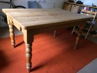 Dining Table - solid pine waxed finish - rustic farmhouse style