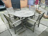 Outdoor wooden table and chairs