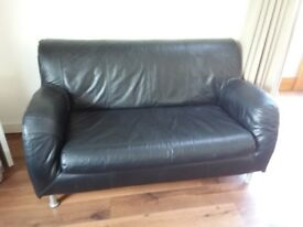 Black two seater sofa