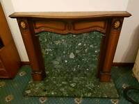 Fireplace. Marble & wooden surround