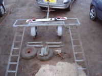 towing dolly, galvanized, with makers/weight plate, new wheels/tyres an bearings, comes with straps