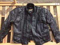 Men's IXS Leather Motorcycle Jacket (EU Size 54) + Trousers (EU Size 110)