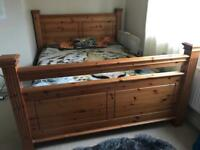 King size solid wood pine bed and mattress