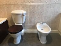 Wooden Toilet + Sink + Bidet