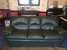 Dark green 3 seat Leather sofa