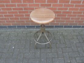 Swivel Stool With Wooden Top