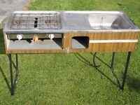 Camping cooker and sink, fold down legs, from Fiat 900 camper, £25.00