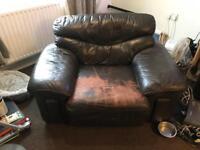 Leather sofa + chairs