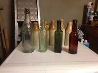 4 Old glass bottles