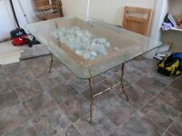 GLASS DINING TABLE & 6 MATCHING CHAIRS