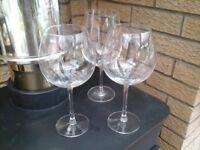 3 x Full bottle wine glasses