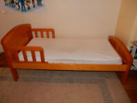 Toddler Pine Bed with Mattress if required