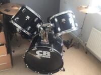 CB Drum Kit with Double Bass Pedal and Sabian Cymbals