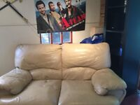 Free Two Seater Cream leather sofa with footstool