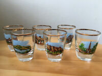 6 vintage small glasses with different Scottish scenes, gilded rims. Edinburgh Castle, etc £6 ovno.
