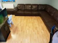 Brown Leather Corner Sofa's (DFS)
