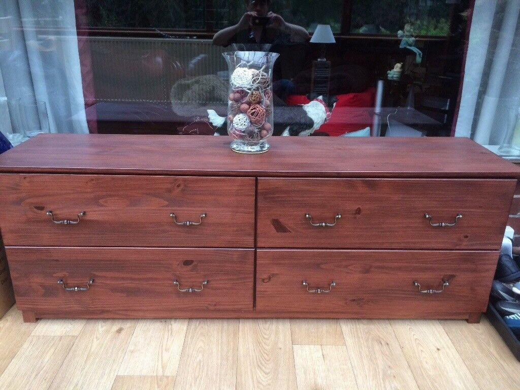 Bargain walnut 4 drawer cupboard unit excellent condition ideal storage with brass handles