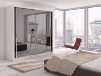 Brand New German Full Mirrored Sliding Door Wardrobe with Shelves, 2 Rails in Different Sizes/Colors