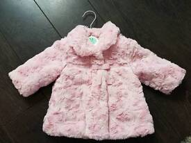 Baby coats 0-3 months pink red and cream matching hats
