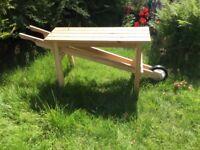 Garden wheel barrow wooden seat