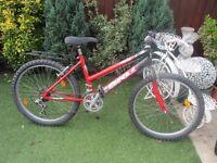girls 24inch wheeled mountain bike with bike locker £40.00