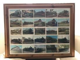 Framed Steam Train Post Cards