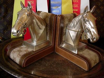 RARE Vintage GUCCI Bookends Equestrian Decor Library Office Accessory Barware GG
