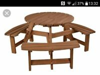 Wanted - Round wooden bench set