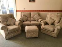 3 piece suite. Sofa, 2 chairs and pouffe. Excellent condition. Excellent quality