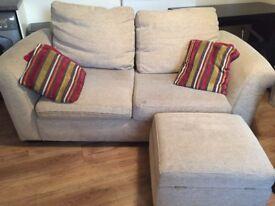 Sofa, foot stool and pillows