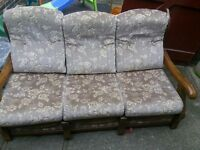 Wooden frame 3 seater fabric sofa seat for FREE