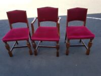 Set of 3 red velvet covered chairs