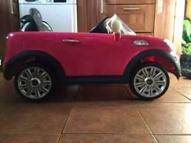 Pink mini cooper s 6v electric car
