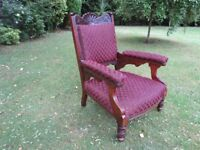 Large Edwardian Arm Chair (Professionally Refurbished)