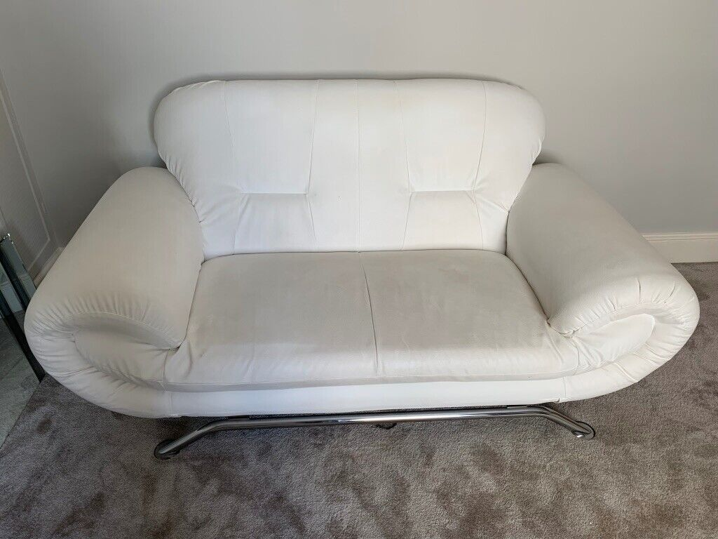 White Faux Leather Two Seater Sofa In Clifton Bristol Gumtree