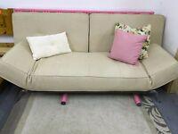 Multi Position Cream Fabric Sofa Bed