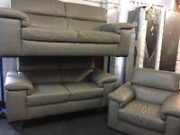 NEW / EX DISPLAY Grey Leather Liberata 3 + 2 + 1 Seater Sofas