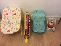Bundle of baby items -bouncer, play mat, bath stand, toy