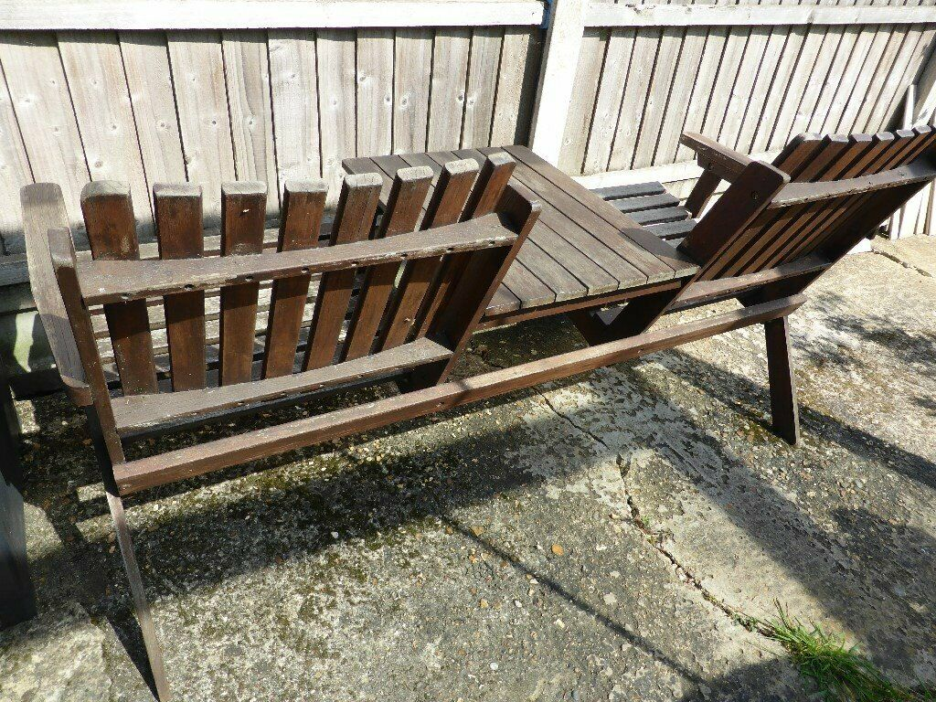 2 seater garden bench with central table and brolly hole