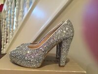 Dune Silver Glitter Court Shoes size 6