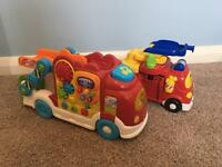 Toot Toot Vtech Car carrier and fire engine truck