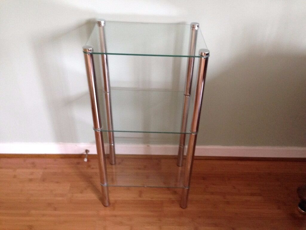 Glass Stand, sturdy with chrome supports 3 shelves, in smart clean condition.