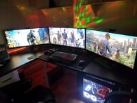"""Ultimate Gaming PC - i7 7700k, dual GTX 1080, Triple 34"""" Ultrawide Monitors, Water cooled..Amazing"""