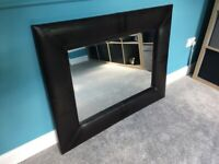 Large brown faux leather mirror from Next