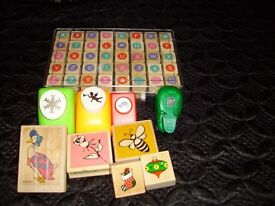Job lot Box of mini stamps, 5 rubber stamp & 4 punches various designs - £10