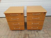 2 OFFICE DRAWERS-WOOD EFFECT-ON CASTORS AND LOCKABLE
