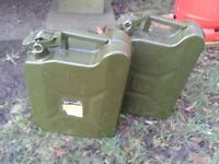 2 x 10L Steel Jerry Cans in green