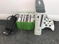 Xbox 360 with 2 controllers and 14 games