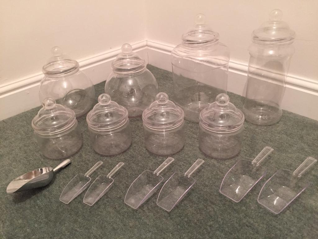 Sweet jars containers and scoops