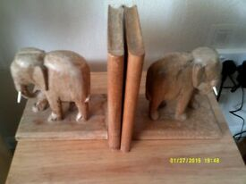 elephant book ends carved wood 1950s